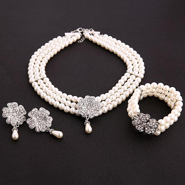 Gatsby Années 1920 Gatsby Ensembles d'accessoires de costume Bal Masqué Femme Costume Bracelet à Perles Boucles d'Oreille Collier de perles Blanche Vintage Cosplay Soirée Halloween / 1 Collier