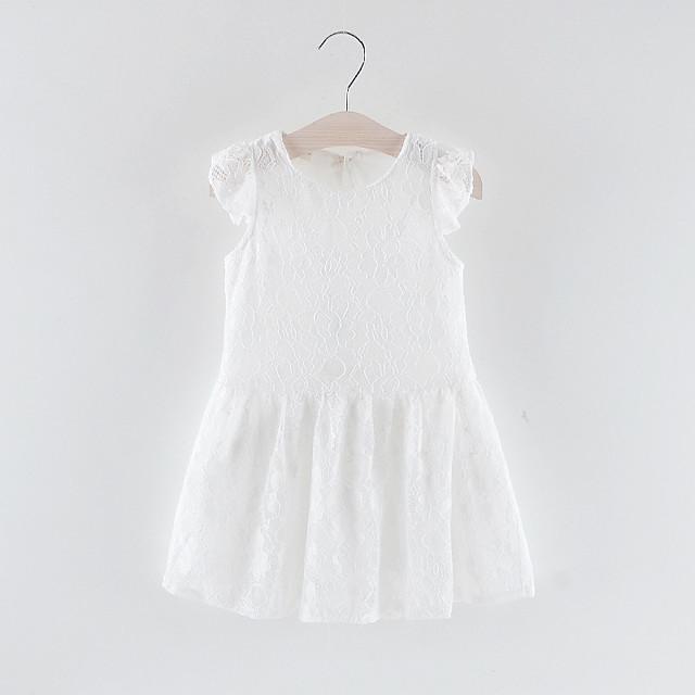 Bébé Fille Doux Couleur Pleine Dentelle Sans Manches Au dessus du genou Polyester Robe Blanche