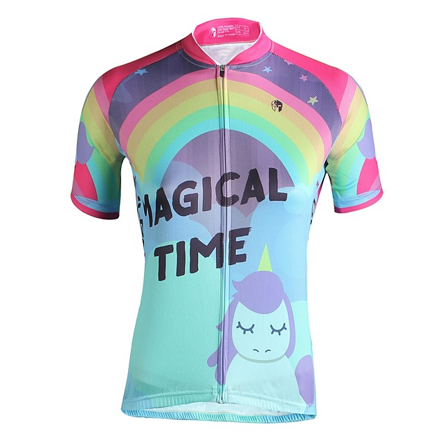 ILPALADINO 여성용 짧은 소매 싸이클 져지 핑크 카툰 자전거 져지 탑스 자외선 방지 통기성 스포츠 의류