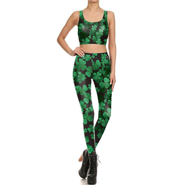 Femme 2 Pièces Costume de yoga Vert Fitness Exercice Physique Course Running Taille haute Collants Legging Brassière Sport Tenues de Sport Contrôle du Ventre Butt Lift Respirable Elastique