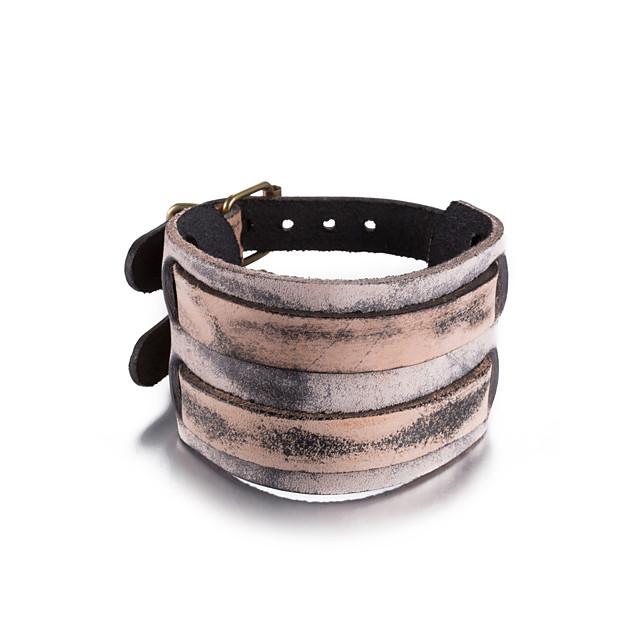 Large bracelet Homme Tressé Cuir unique Rétro Vintage Bracelet Bijoux Gris pour Quotidien Travail