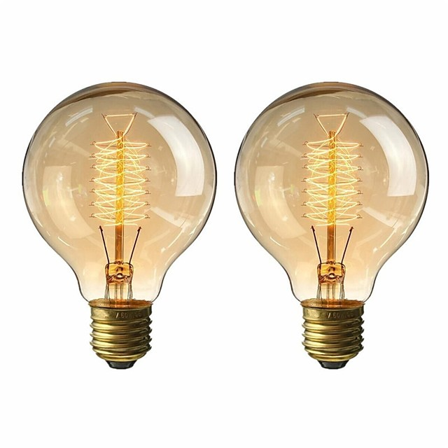 2pcs 40 W E26 / E27 G80 Blanc Chaud 2200-2800 k Rétro / Intensité Réglable / Décorative Ampoule incandescente Edison Vintage 220-240 V