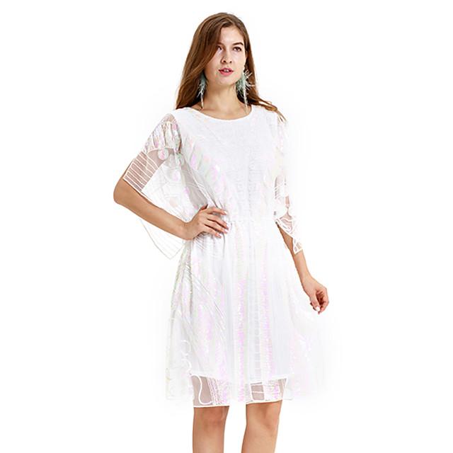 Gatsby Charleston Années 1920 Rétro Vintage robe de vacances Robe à clapet Costume de Soirée Bal Masqué Robe de bal Femme Paillettes Paillette Costume Blanche Vintage Cosplay Soirée Retour Fête