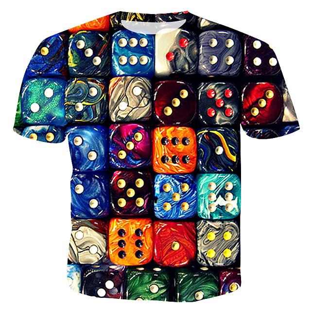 Herr Geometrisk Grafisk T-shirt Tryck Blast Rund hals Regnbåge