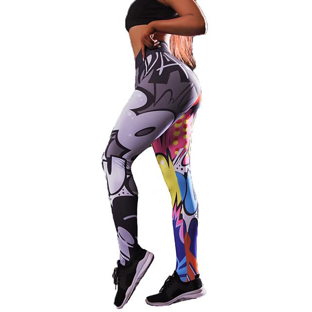 Femme Taille haute Pantalon de yoga Legging Butt Lift Evacuation de l'humidité Rose Jaune + Spandex Course / Running Danse Fitness Des sports Tenues de Sport Haute élasticité Slim