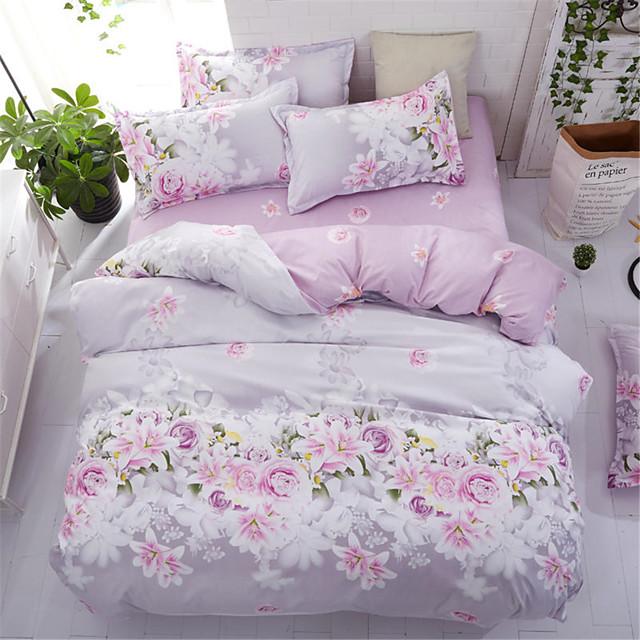 Bettbezug-Sets Blumen Polyester Bedruckt 4 StückBedding Sets