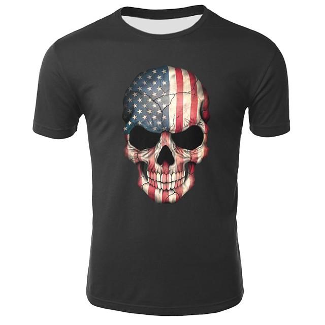 Homme T shirt Géométrique Crânes Animal Grandes Tailles Imprimé Hauts Coton Noir