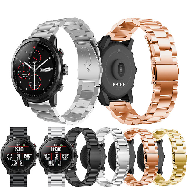Bracelet de Montre  pour Huami Amazfit A1602 / Huami Amazfit Pace Watch / Huami Amazfit Stratos Smart Watch 2/2S Xiaomi Bracelet Sport / Boucle Classique Métallique / Acier Inoxydable Sangle de