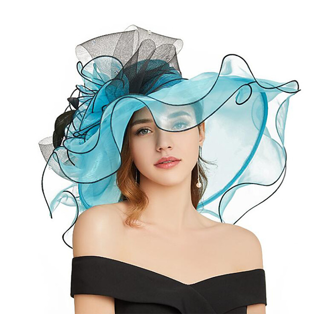 Organza Headwear with Flower / Ruffle 1 Piece Wedding / Sports & Outdoor Headpiece
