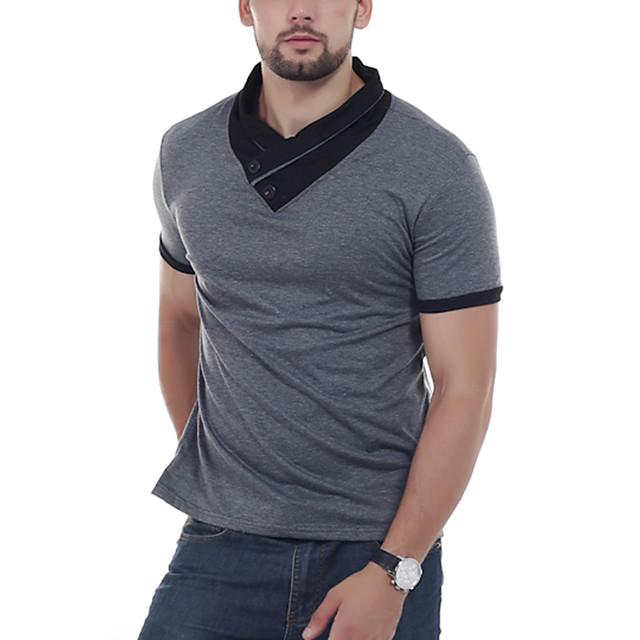 Homme T shirt Couleur Pleine Bloc de Couleur Patchwork Hauts Noir Bleu Gris Foncé