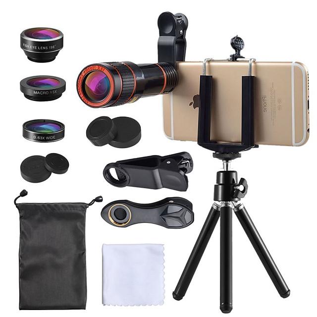Obiettivo del telefono cellulare Obiettivo Fish-Eye / Lunghezza focale della lente / Grandangolo vetro / Plastica 10X e oltre 35 mm 15 m 198 ° Obiettivo con supporto