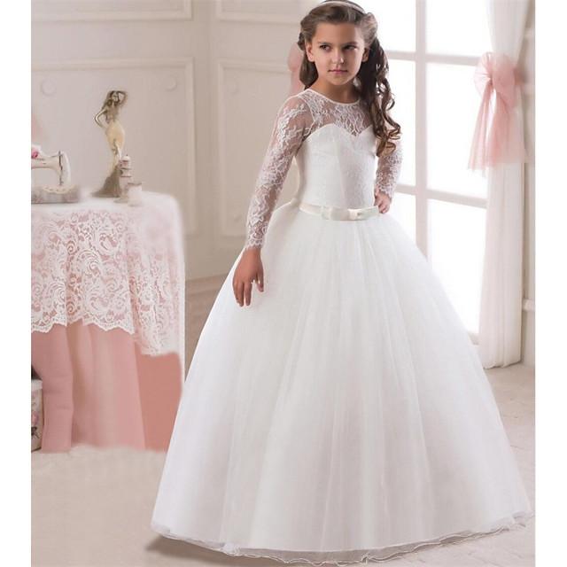 Princesse Long Mariage / Communion Robes de demoiselle d'honneur - Dentelle / Satin / Tulle Manches Longues Bijoux avec Dentelle / Ceinture