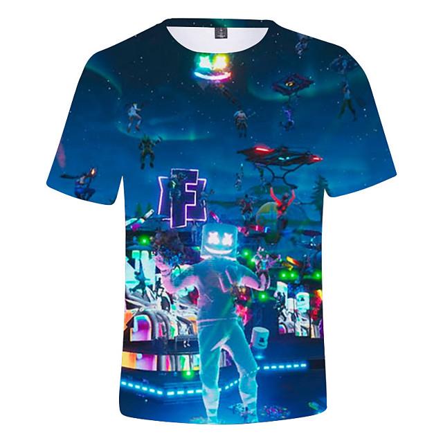 Enfants Garçon T-shirt Tee-shirts Manches Courtes Anime Imprimé 3D Enfants Printemps été Hauts Actif Bleu marine Bleu