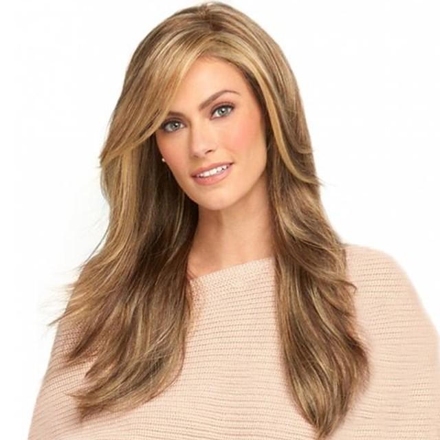Perruque Synthétique Franges Droit crépu Partie latérale Perruque Blond Long Or clair Cheveux Synthétiques 26 pouce Femme Design Tendance Lisse Homme Blond