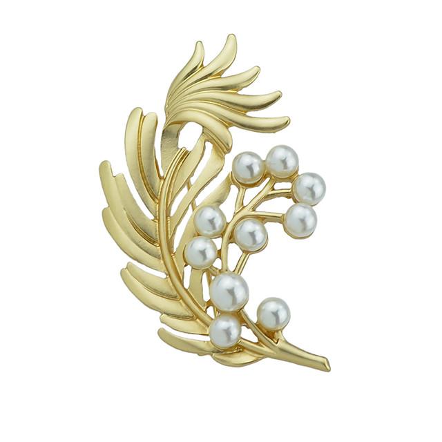 Femme Broche Forme de Feuille Elégant Luxe Imitation de perle Broche Bijoux Dorée Pour Noël L'obtention du diplôme Quotidien