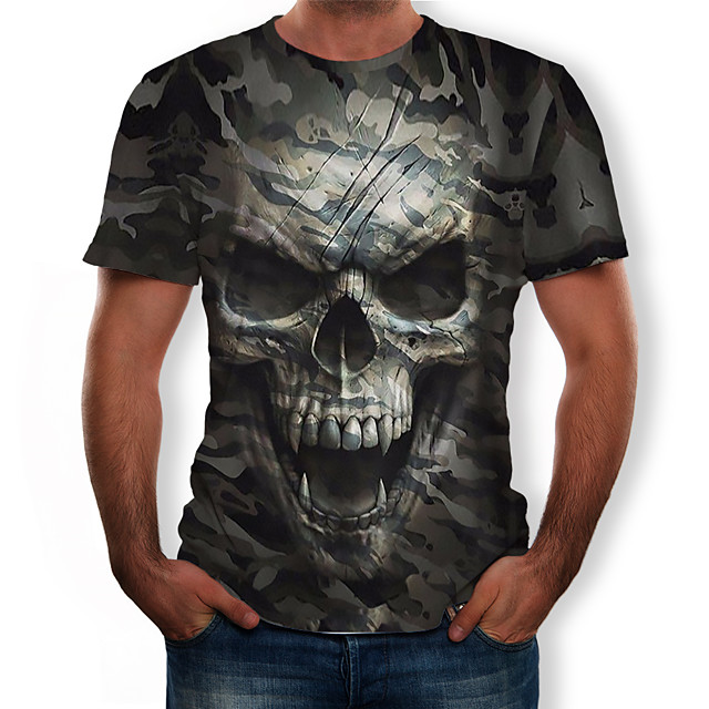 Per uomo 3D Pop art Teschi T-shirt Con stampe Top Rotonda Verde militare / Camouflage