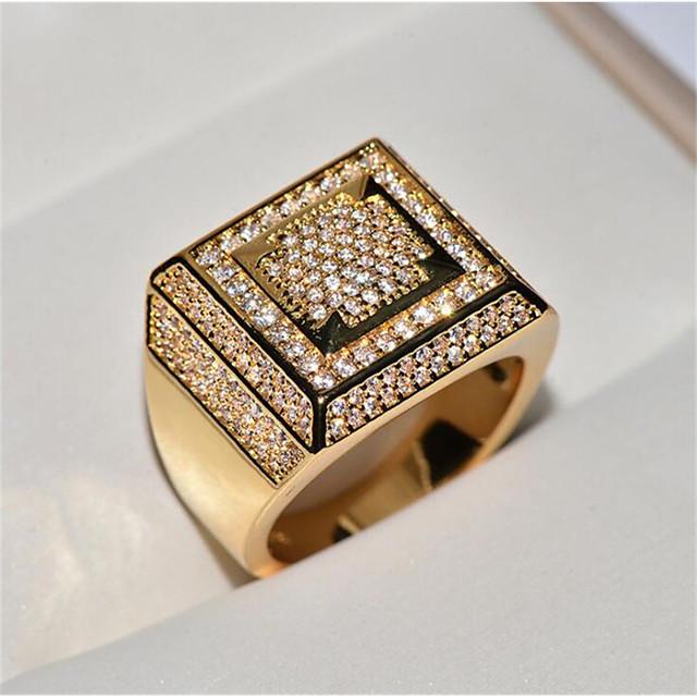 Herren Ring Kubikzirkonia Klassisch Weiß Gold Kupfer Kreuz Stilvoll HipHop Iced Out 1pc 8 9 1 11 12 / Herrn