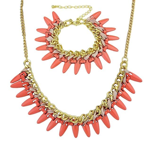 Femme Chaînes Bracelets Collier Col Claudine Rivet Elégant Mode Des boucles d'oreilles Bijoux Rouge Pour Quotidien 1 set