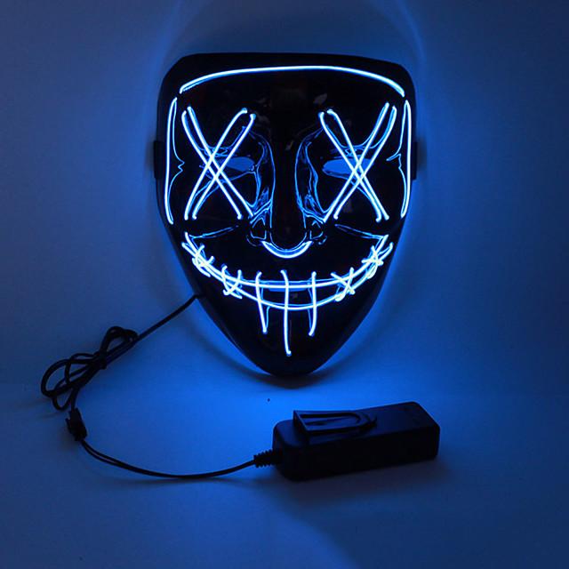 Halloween-naamio Aikuisten Miesten LED Valaista Halloween Festivaali / loma PVC LED Valkoinen / Keltainen / Punainen Miesten Naisten Helppo Karnevaalipuvut / Naamio / Naamio