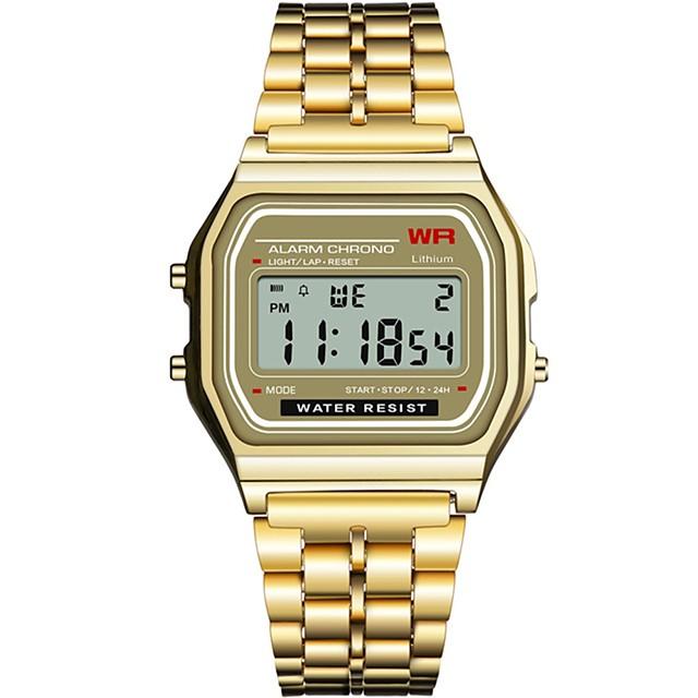 Pentru femei Ceas digital Piața de ceas Sclipici Modă Negru Argint Auriu Oțel inoxidabil Silicon Chineză Piloane de Menținut Carnea Negru Negru+Alb Auriu Cronograf Iluminat Ceas Casual 1 piesă