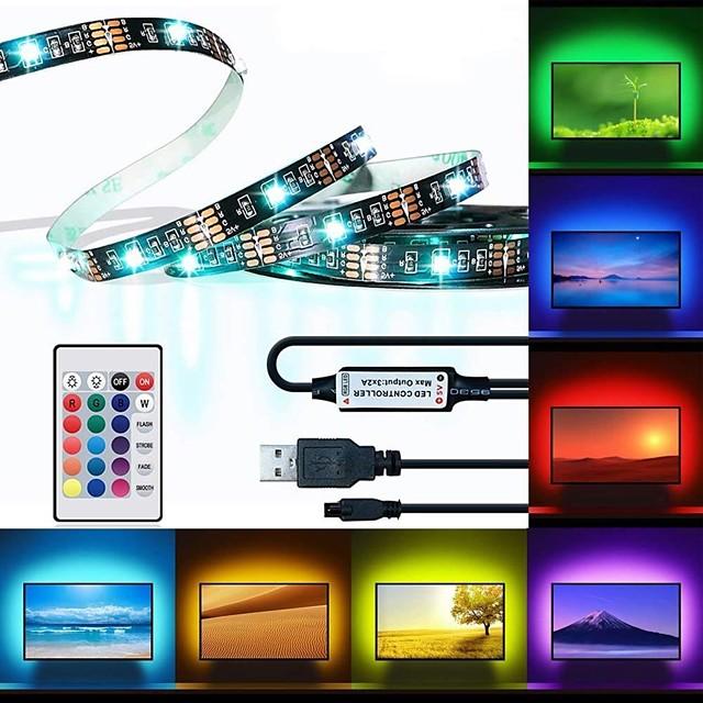 BRELONG® 3M RGB 스트립 조명 150 LED 5050 SMD 10mm 1 24 키 리모트 컨트롤러 1 개 RGB 방수 컷테이블 USB 5 V / 접착성이 있는