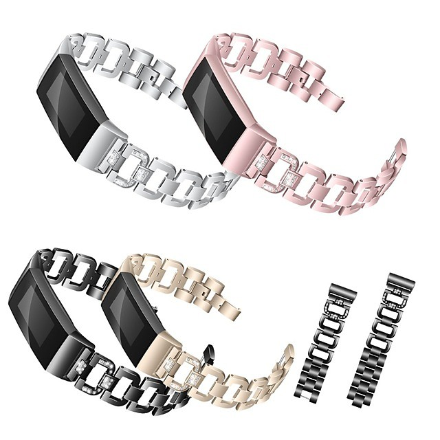 حزام إلى Fitbit Charge 3 فيتبيت تصميم المجوهرات ستانلس ستيل شريط المعصم
