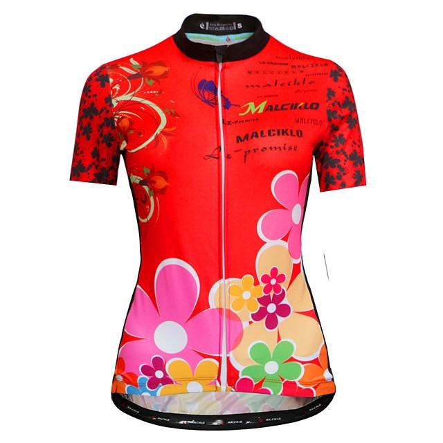 Malciklo Femme Manches Courtes Maillot Velo Cyclisme Noir Rouge Floral Botanique Cyclisme Maillot Hauts / Top VTT Vélo tout terrain Vélo Route Respirable Séchage rapide Design Anatomique Des sports