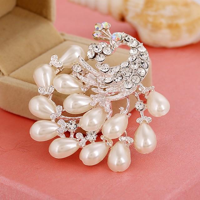 Femme Broche Paon Elégant Imitation de perle Imitation Diamant Broche Bijoux Blanc Pour Quotidien