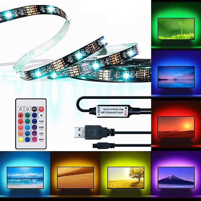 BRELONG® 3M Φωτολωρίδες RGB 90 LEDs 5050 SMD 10mm 1 24Keys Τηλεχειριστήριο 1pc RGB Αδιάβροχη Μπορεί να κοπεί USB 5 V / Αυτοκόλλητο