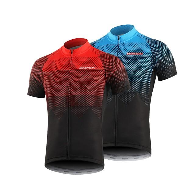 BERGRISAR Homme Manches Courtes Maillot Velo Cyclisme Eté Polyester Noir / Rouge Orange Vert Pente Cyclisme Maillot Sommet VTT Vélo tout terrain Vélo Route Séchage rapide Respirable Bandes