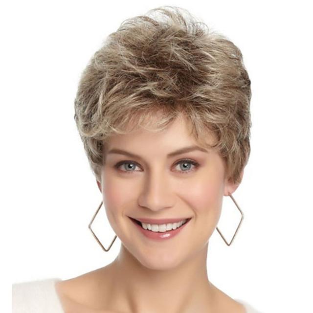 Perruque Synthétique Franges Bouclé Partie libre Perruque Blond Court Or clair Cheveux Synthétiques 12 pouce Femme Design Tendance Homme Synthétique Blond