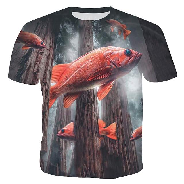남성용 T 셔츠 3D 동물 프린트 탑스 그레이