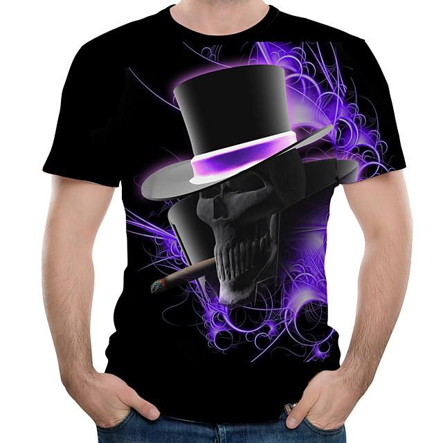 Homme T shirt Graphique 3D Crânes Imprimé Hauts Noir