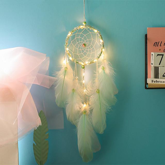 capteurs de rêves faits à la main lumières LED décorations murales en plumes 50 * 11 cm