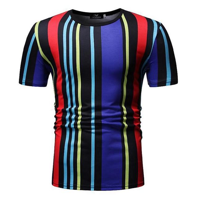 Miesten T-paita Raidoitettu Color Block Patchwork Topit Puuvilla Valkoinen Musta