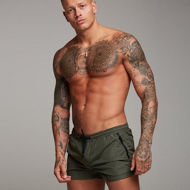 Per uomo Per sport Essenziale Pantaloncini Pantaloni Tinta unita Nero Rosso Verde militare