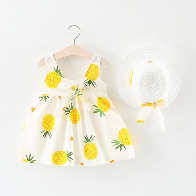 bébé Fille Actif / Basique Fruit Noeud / Plissé Sans Manches Au dessus du genou Coton Robe Blanc / Bébé