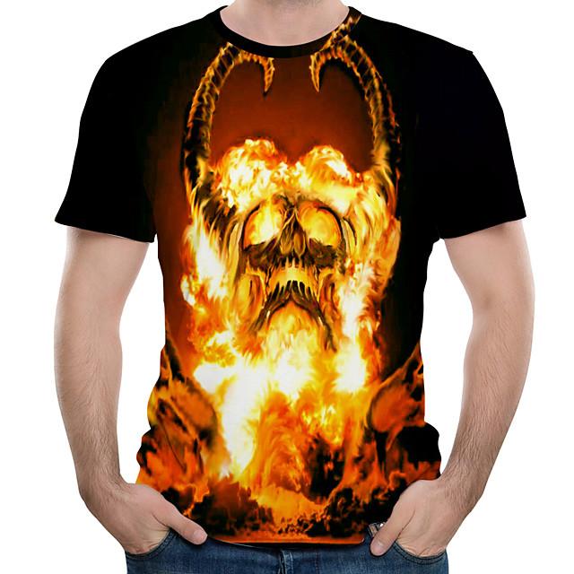 Homme T shirt Bloc de Couleur 3D Crânes Imprimé Hauts Noir