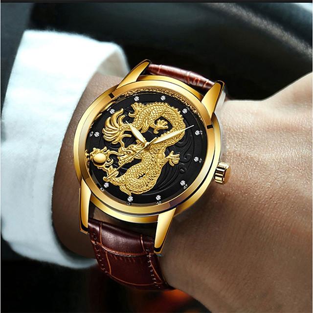 Муж. Нарядные часы Кварцевый Роскошь Защита от влаги Аналоговый Белый Черный Золотой / Кожа / Имитация Алмазный