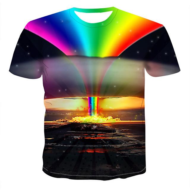 Herr 3D Regnbåge T-shirt Tryck Blast Rund hals Regnbåge