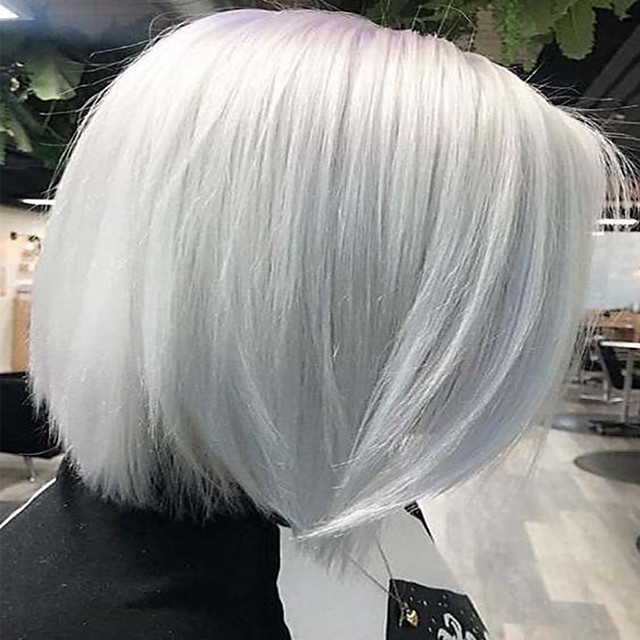 Accessoire de Costume Perruque Synthétique Classique Droite naturelle Bob Coupe Carré Partie médiane Perruque Court Blanche Cheveux Synthétiques 12 pouce Femme Synthétique Adorable Mode Blanc