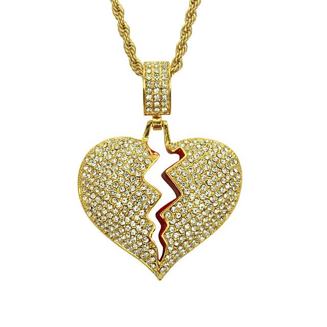 Bărbați Cristal Coliere cu Pandativ Inimă frântă Inimă Relaţie European La modă Modă Crom Auriu Argintiu 60 cm Coliere Bijuterii 1 buc Pentru Zilnic Carnaval Stradă