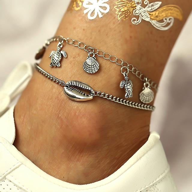 Bracelet de cheville simple Classique Rétro Vintage Femme Bijoux de Corps Pour Quotidien Vacances Rétro Alliage Tortue Étoile de mer Argent 2pcs