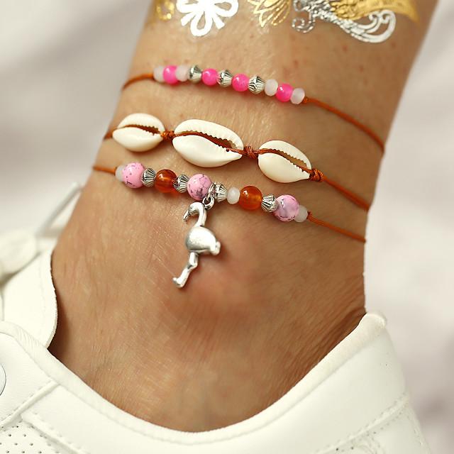 Bracelet de cheville bijoux de pieds Bohème Doux Femme Bijoux de Corps Pour Quotidien Vacances Multirang Coquillage Alliage Flamant Coquillage Rose 3pcs
