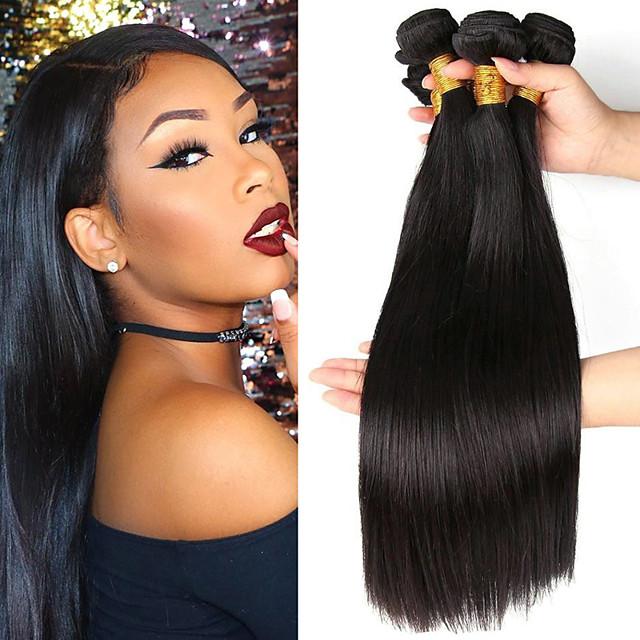 3 pakker Hårvever Brasiliansk hår Rett Hairextensions med menneskehår Ubehandlet hår Menneskehår Vevet Bundle Hair En Pack Solution 8-28 tommers Naturlig Farge Lugtfri Glat Beste kvalitet