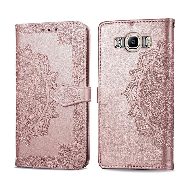 Capinha Para Samsung Galaxy J7 (2016) Porta-Cartão / Flip Capa Proteção Completa Sólido Rígida PU Leather