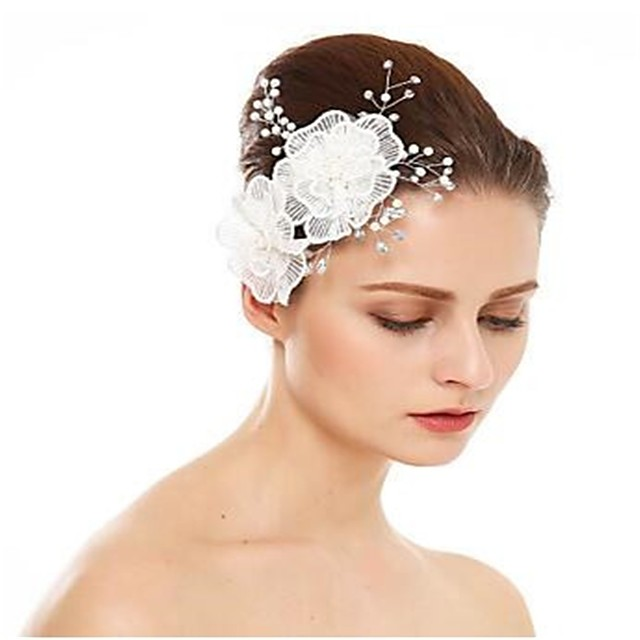 Imitation de perle / Strass / Alliage Peignes / Fleurs avec Strass / Imitation Perle / Couleur Unie 1 Pièce Mariage Casque