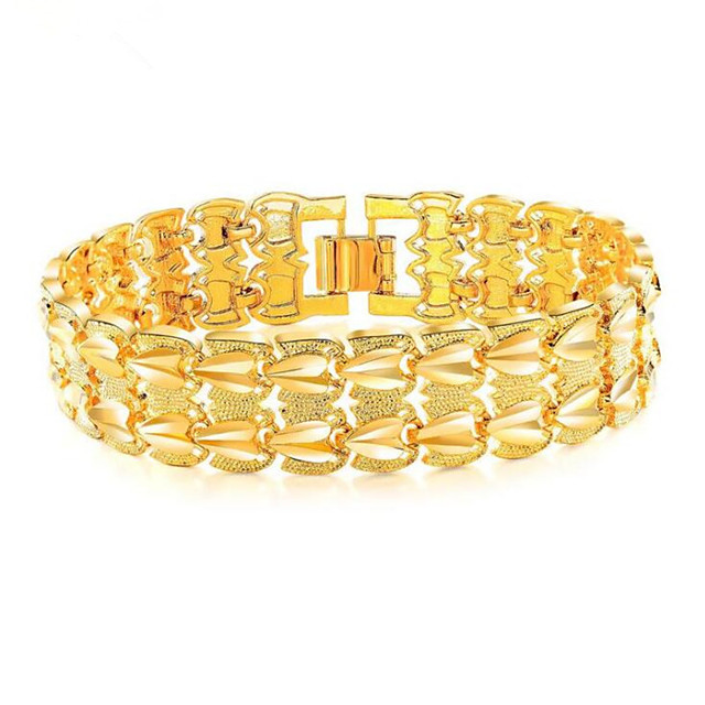 Chaînes Bracelets Homme Acier au titane Chanceux Elégant Bracelet Bijoux Dorée Forme Géométrique pour Cadeau Quotidien