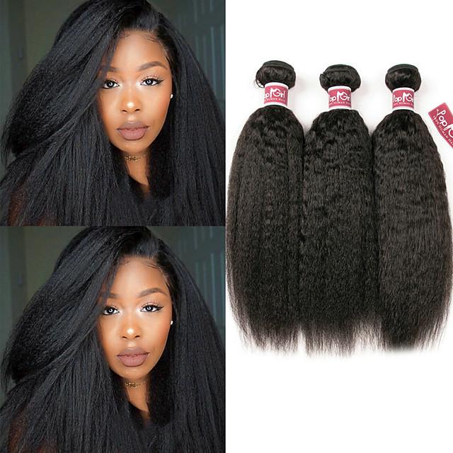 Lot de 3 Tissage de cheveux Cheveux Malaisiens Droit Yaki Extensions de cheveux Naturel humains Cheveux Naturel Rémy Paquets de 100% Remy Hair Weave 300 g Tissages de cheveux humains Extensions