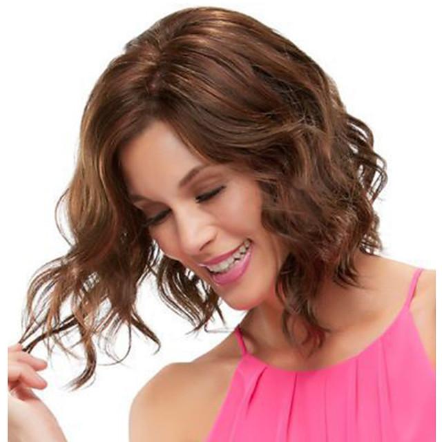 Perruque Synthétique Bouclé Partie latérale Perruque Moyen Brown / Bourgogne Cheveux Synthétiques 14 pouce Femme Design Tendance Homme Synthétique Marron